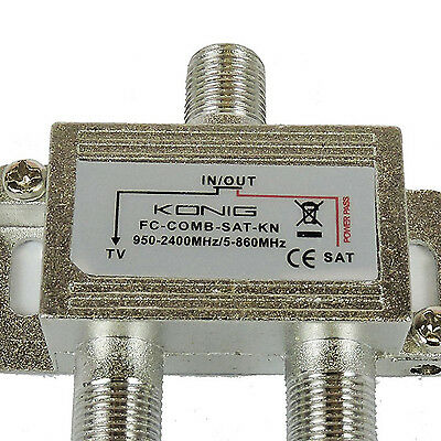 SATELLITE TV AERIAL SIGNAL COMBINER SPLITTER DIPLEXER VHF UHF F + 3 F connectors