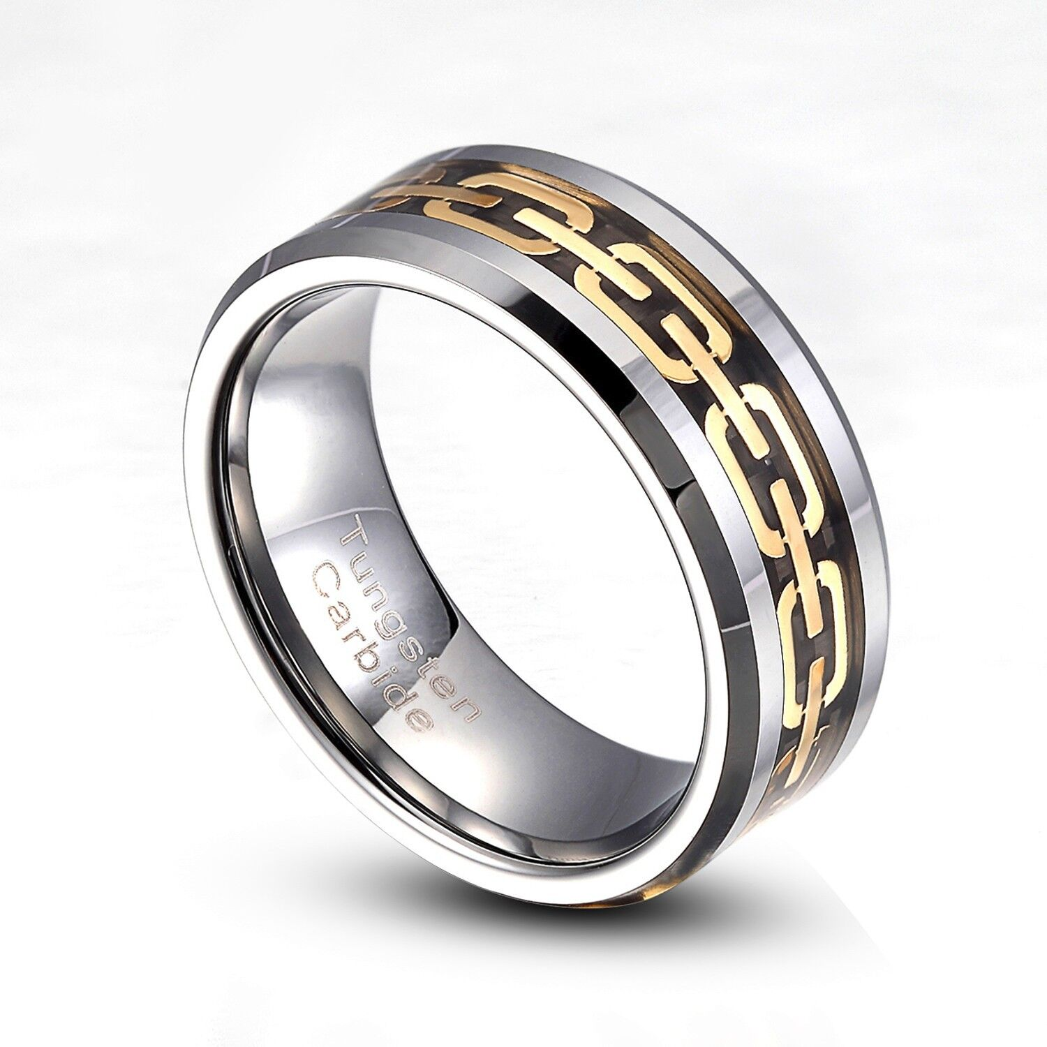 tungsten carbide 8mm gold chain link wedding band ring