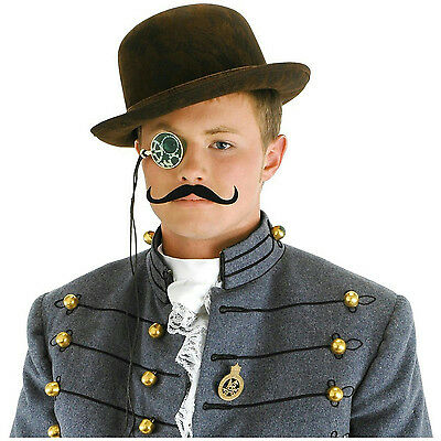 Male Steampunk Accessory Mens Costume Hat Monocle and Moustache Kit (Steampunk Male Costume)