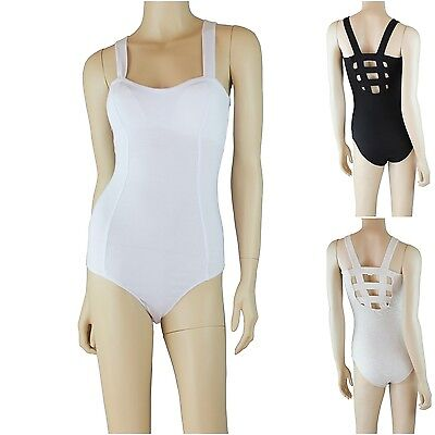 Womens Solid Sleeveless Bodysuit Casual Padded Bra Cage Back Top Snap (Button Cage)