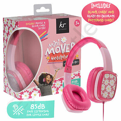 Kids Over Ear Headphones KitSound Childrens Girls Earphones Pink for iPad/Tablet