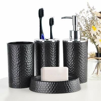 Modern Bathroom Accessory Set Soap Dispenser Toothbrush Holder Tumbler Black ()