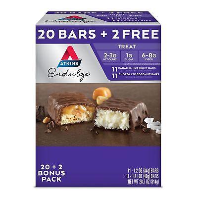 - Atkins Endulge Treat Low carb Snack Bar Variety Pack (20 + 2 Bonus Bars)