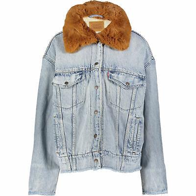 LEVIS Blue Oversized Denim Jacket, Sherpa Lining. Size L