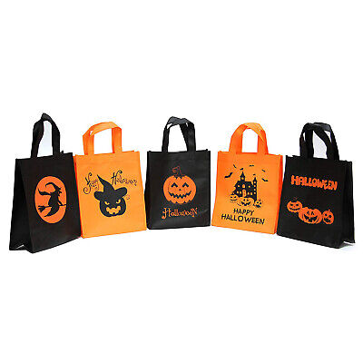 Halloween Goodie Bags (5 PACK Halloween Trick or Treat Candy Bag Reusable Candy Goodie Totes)