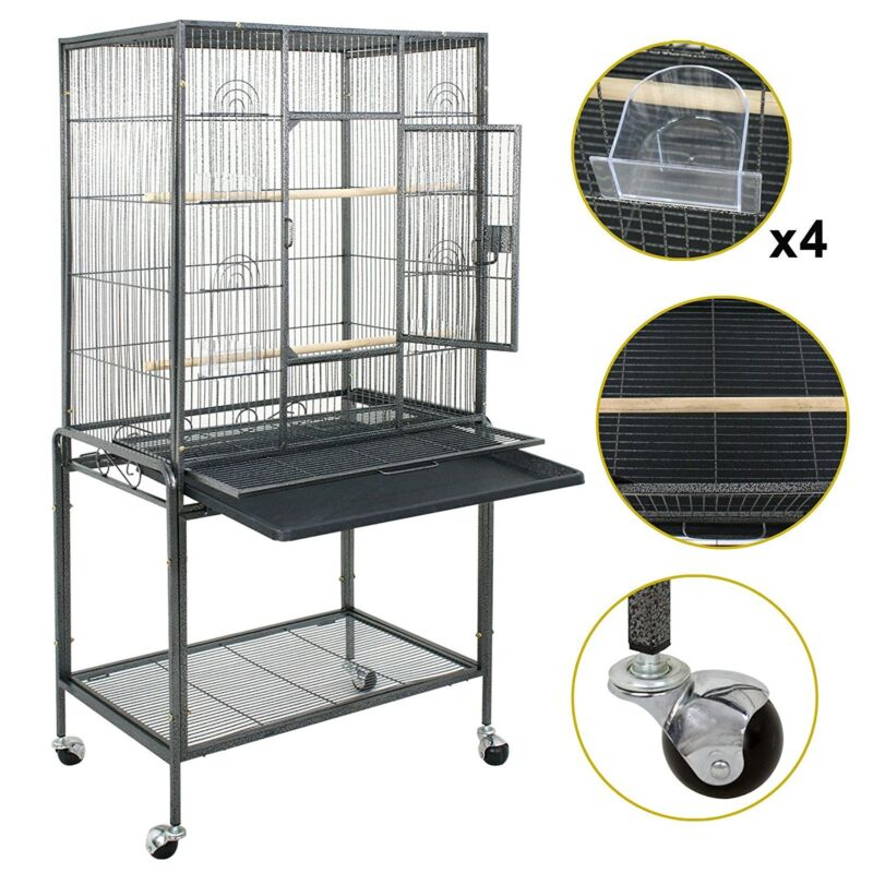 "53"" Large Bird Pet Cage Large Play Top Parrot Finch Cage Macaw Cockatoo W/ Door"