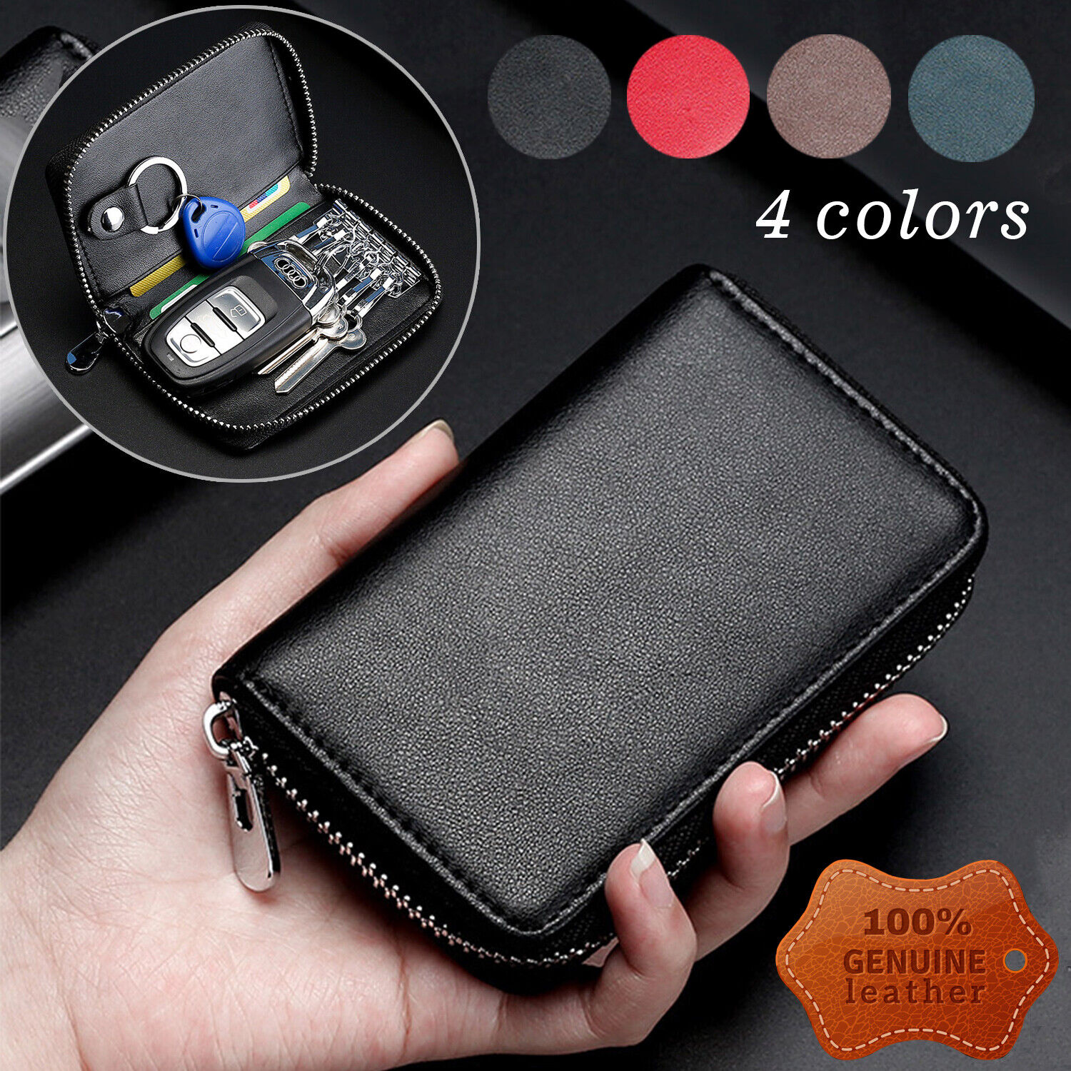 Genuine Leather Wallet Car Key Holder Case Keychain Bag Zip Pouch with Card Slot Clothing, Shoes & Accessories