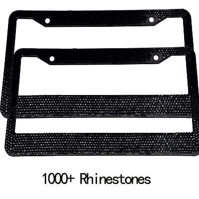 Pair Black Bling Metal License Plate Frame Car Auto For Dodge Jeep Best