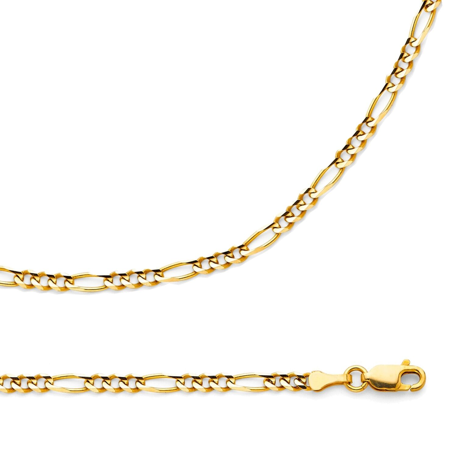 Real 10K Yellow Gold Figaro Style Chain 3.1 mm Necklace 18 Inch For Mens Womens
