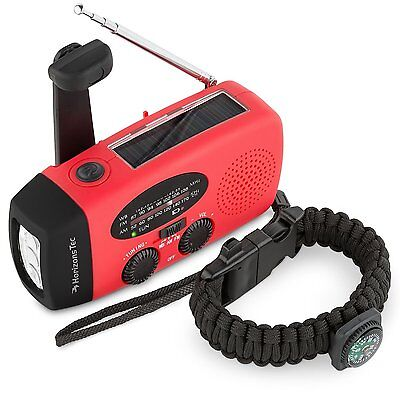 Emergency Hand Crank Contact Weather Radio Solar Led Flashlight Survival Charger