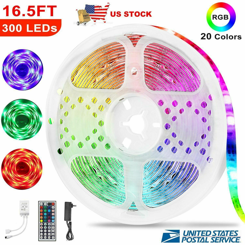5M RGB 3528 Waterproof LED Strip Light With 44 Key Remote 12V 110V Full Kit Home & Garden