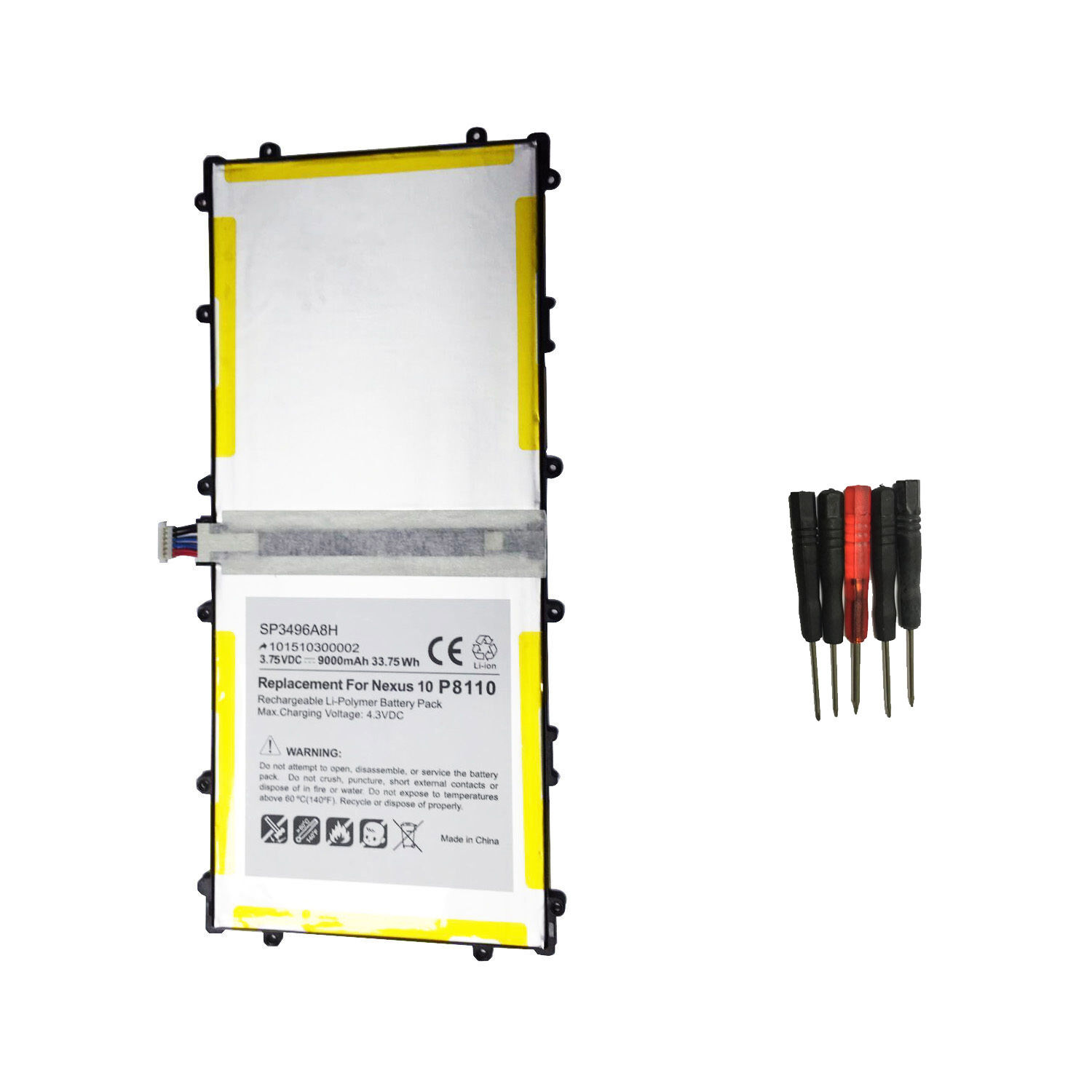 Sp3496a8h 1s2p Battery For Samsung Google Nexus 10 Tablet...