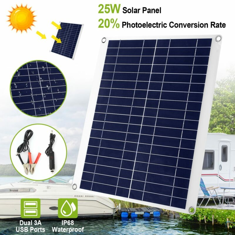 25W Solar Panel Car Battery 12V Trickle Charger & Maintainer for Car RV Boat Set