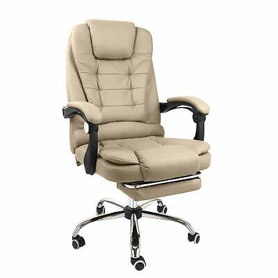 Halter Reclining Leather Office Chair - Modern Executive - Creamy White