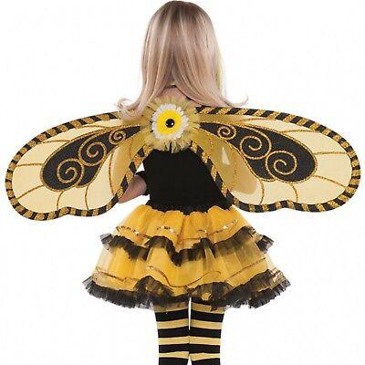 Schwarz Gold Mini Biest Karnevalskostüm Feenflügel (Gelbe Fee Kostüm)