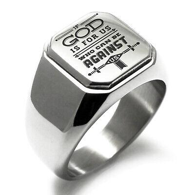 Stainless Steel If God is for Us Romans 8:31 Mens Square Biker Style Signet Ring God Mens Ring