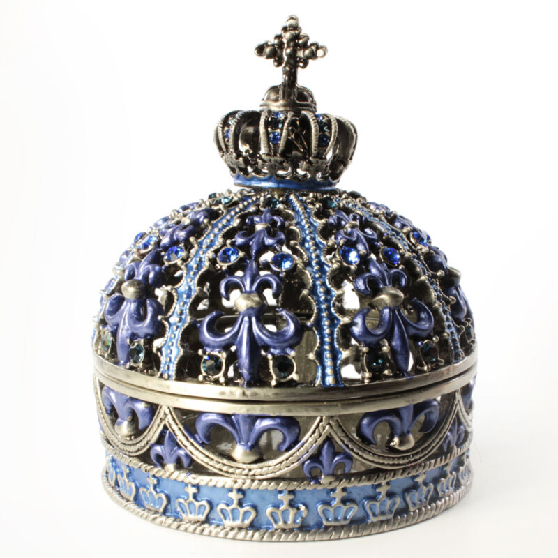 Bejeweled Cross Embellished Crown Shaped Trinket Box, Faberge  Figurine With Cry