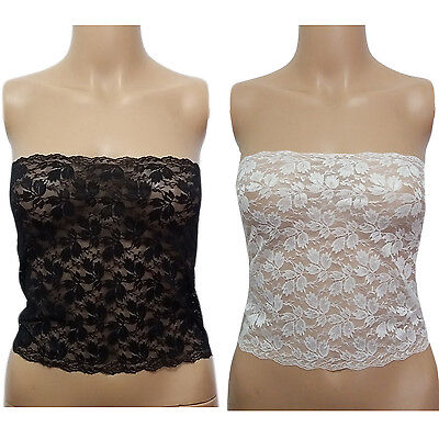 - Womens Floral Flower Lace LingerieBandeau Strapless Tube Top XS-5XL BLACK WHITE