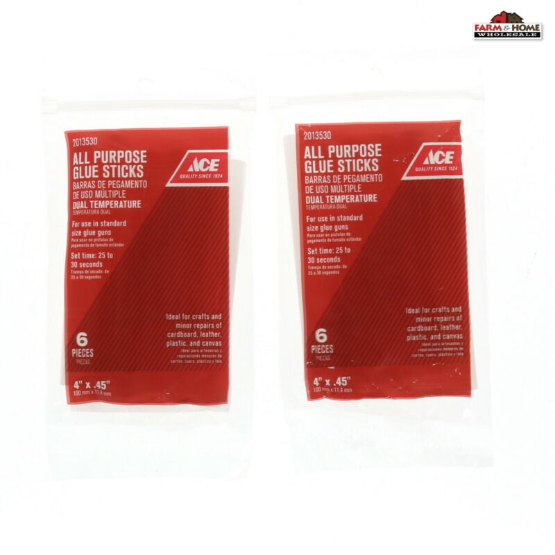 "(2) 4"" x .45"" Clear Hot Glue Stick Melt ~ New"