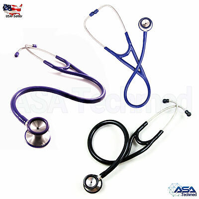Professional Cardiology Stethoscope Black Blue Purple Stainless Steel