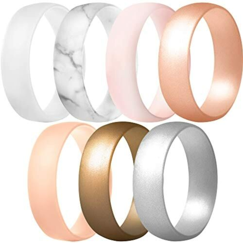Thunderfit Silicone Rings, 7 Rings / 1 Ring Wedding Bands For Men Women...