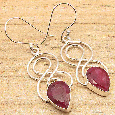 Low Price Online (Low Price Cut Red Simulated RUBY Earrings, 925 Silver Plated ONLINE SALE)