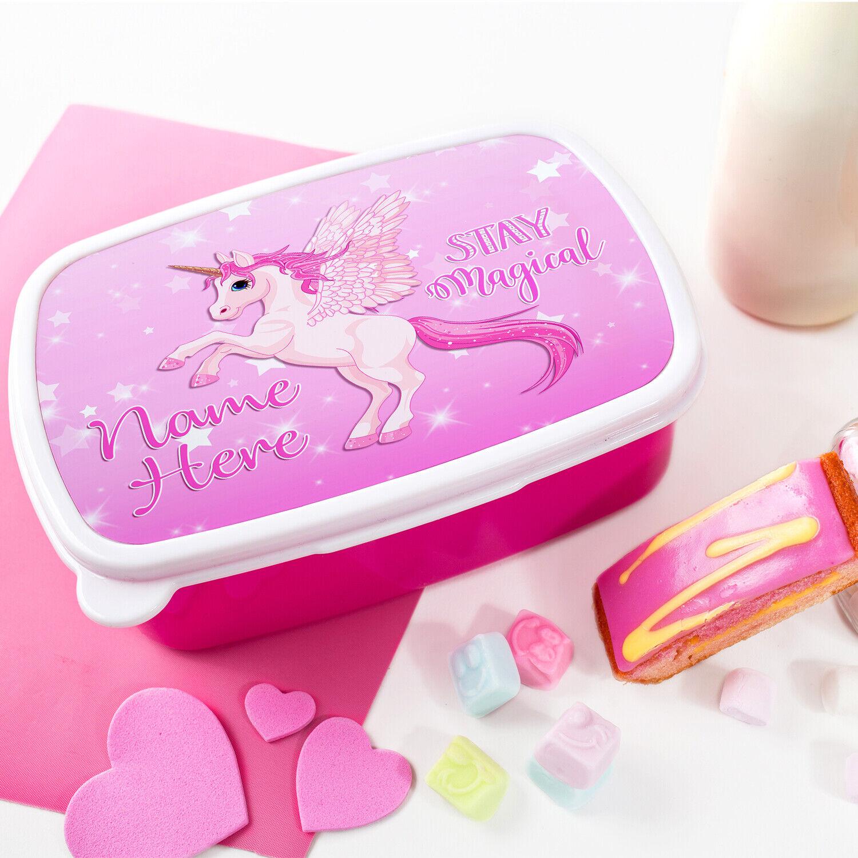 Personalised Girls UNICORN Lunchbox School Snack Sandwich Pink Lunch Box DP018