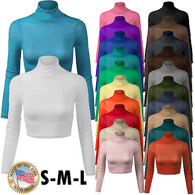 Women's Long Sleeve Turtleneck Basic Crop Top with Stretch Made in USA S,M,L ()