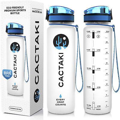 44799ddd18 Sports Water Bottle with Time Marker, 1 liter / 32 Oz, Large, BPA Free,  Flip Top
