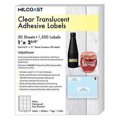 Milcoast Glossy Clear Translucent Waterproof Address Labels 1 X 2-58 50 Sheets