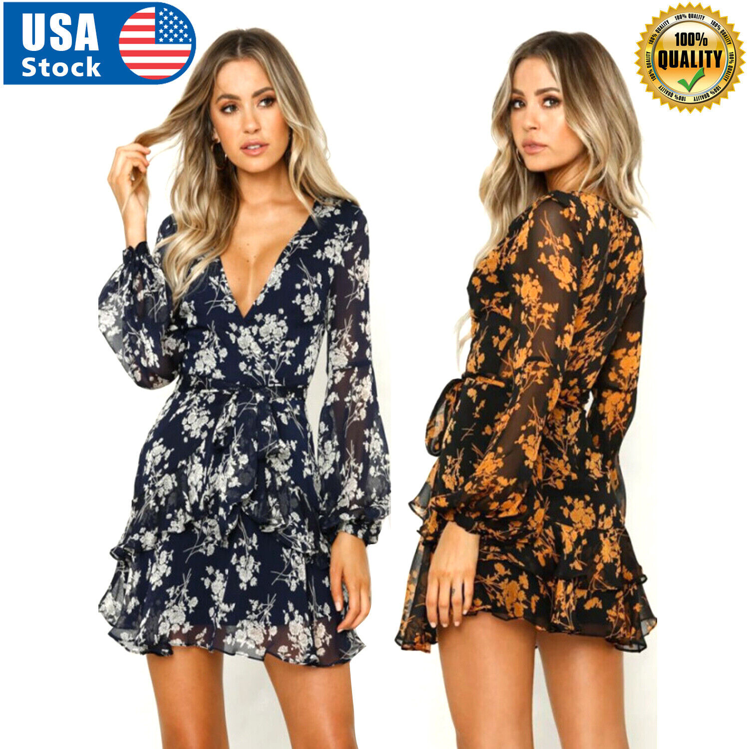Women Spring Summer Sexy V Neck Long Sleeve Printed Mini Short Dresses(S-XXL) Clothing, Shoes & Accessories