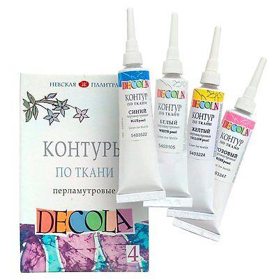 Stoff-farben (Textilfarbe / Konturenfarben - Perlmutt - Hochwertige Stofffarben waschfest)