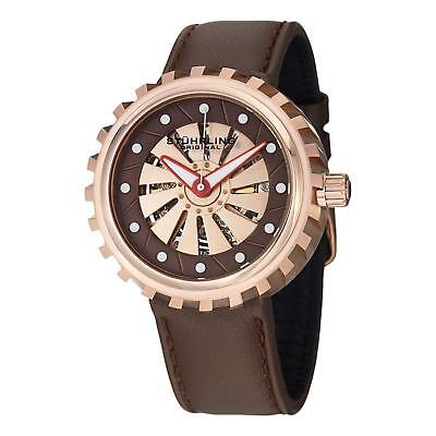 Stuhrling Cyclone Men's 45mm Automatic Brown Calfskin krysterna Watch 726.04