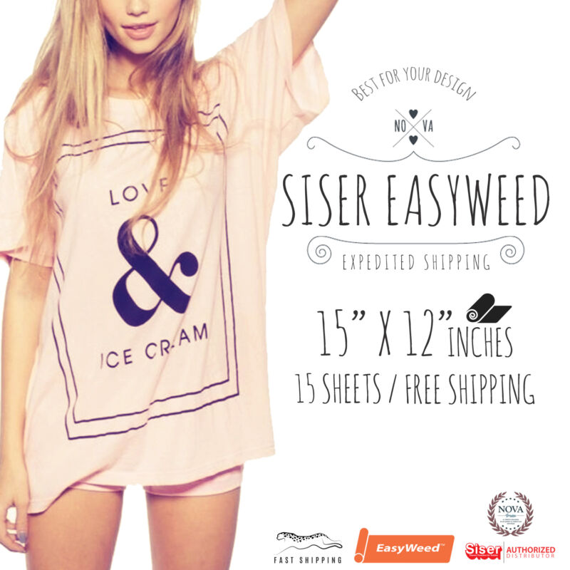 """Siser Easyweed Heat Transfer Vinyl (15""""x 12"""") 15 Sheets - SELECT YOUR COLORS!"""