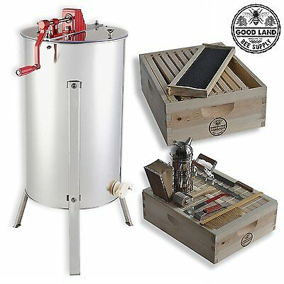 2 Bee Hive Frame Honey Extractor 1 Super Box Beekepers Tool Kit Gl-e2-1s-tk1