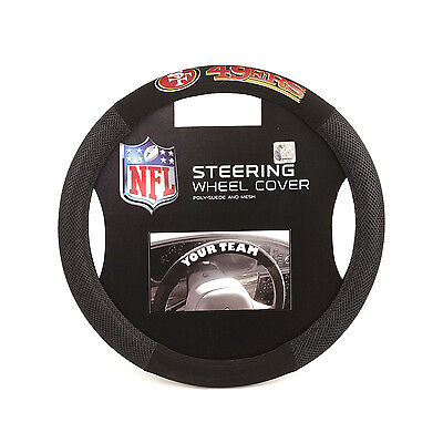 - Football Poly Suede Mesh San Francisco 49ERS  Steering wheel cover 14.5
