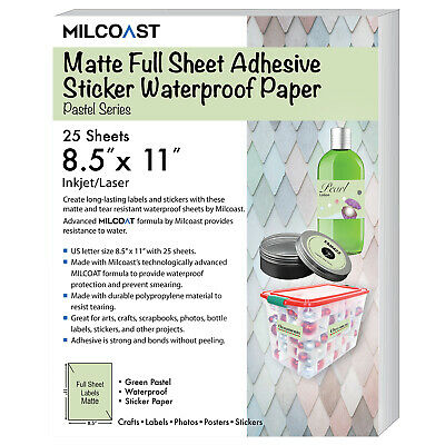 Milcoast Matte Colored Full Sheet 8.5 X 11 Adhesive Waterproof Craft Paper