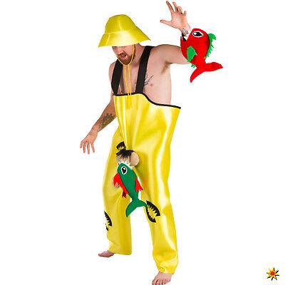 Herren Kostüm Fischer Petri mit 2 Piranhas Onesize Angler Fasching - Fischer Kostüm