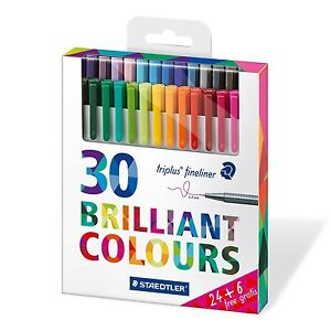 Staedtler Triplus Fineliners 334 C30P Fine Liners Assorted Colours - Pack 30