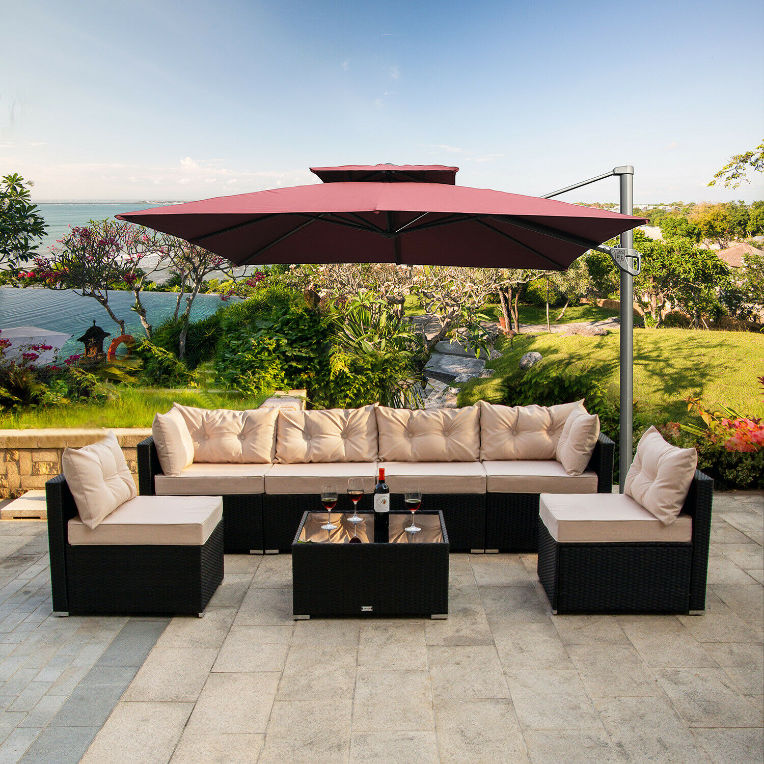 Garden Furniture - 7 PC Outdoor Patio Garden Furniture Sectional Sofa Set Rattan with Table Beige