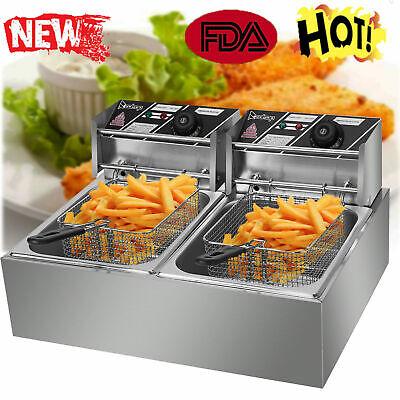 5000w 12 L Electric Deep Fryer Portable 2 Tank Basket Commercial Restaurant E3g7