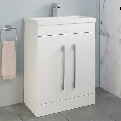600mm Bathroom Vanity Unit Basin Storage Cabinet Furniture Gloss White Modern