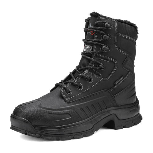 Mens Winter Snow Boots Shoes Work Boots Insulated Waterproof Rubber Sole Boots