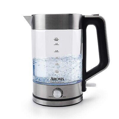 AROMA HOUSEWARES GLASS ELECTRIC WATER KETTLE 1.7L STAINLESS