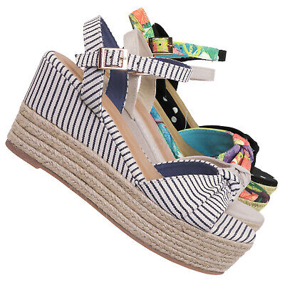 Olson09 Espadrille Wedge Sandal -Women Multi Print & Polka Dot Braided Jute Wrap ()