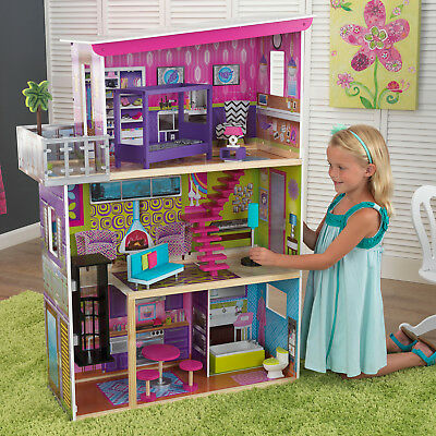 Barbie Dollhouse Kids Girls Far-fetched Playhouse Furniture Wooden Doll House Role Play