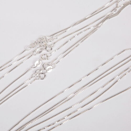 """50 pieces 18"""" 45cm Italian Solid 925 Sterling Silver BOX 015 CHAIN Necklaces Lot"""