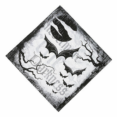 16 HALLOWEEN Party Paper SPOOKY SOIREE Bat Black White LUNCHEON NAPKINS - Black And White Halloween Party