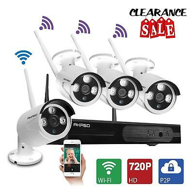 4CH 720P HD Wireless Security Camera System &Monitor CCTV Outdoor WiFi Home US