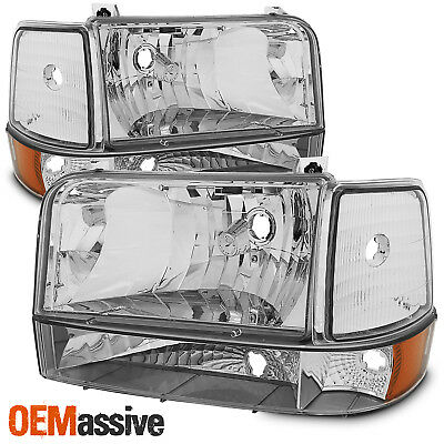 Fits 92-96 Bronco F150 F250 F350 Clear Headlights + Corner + Bumper Signal Lamps